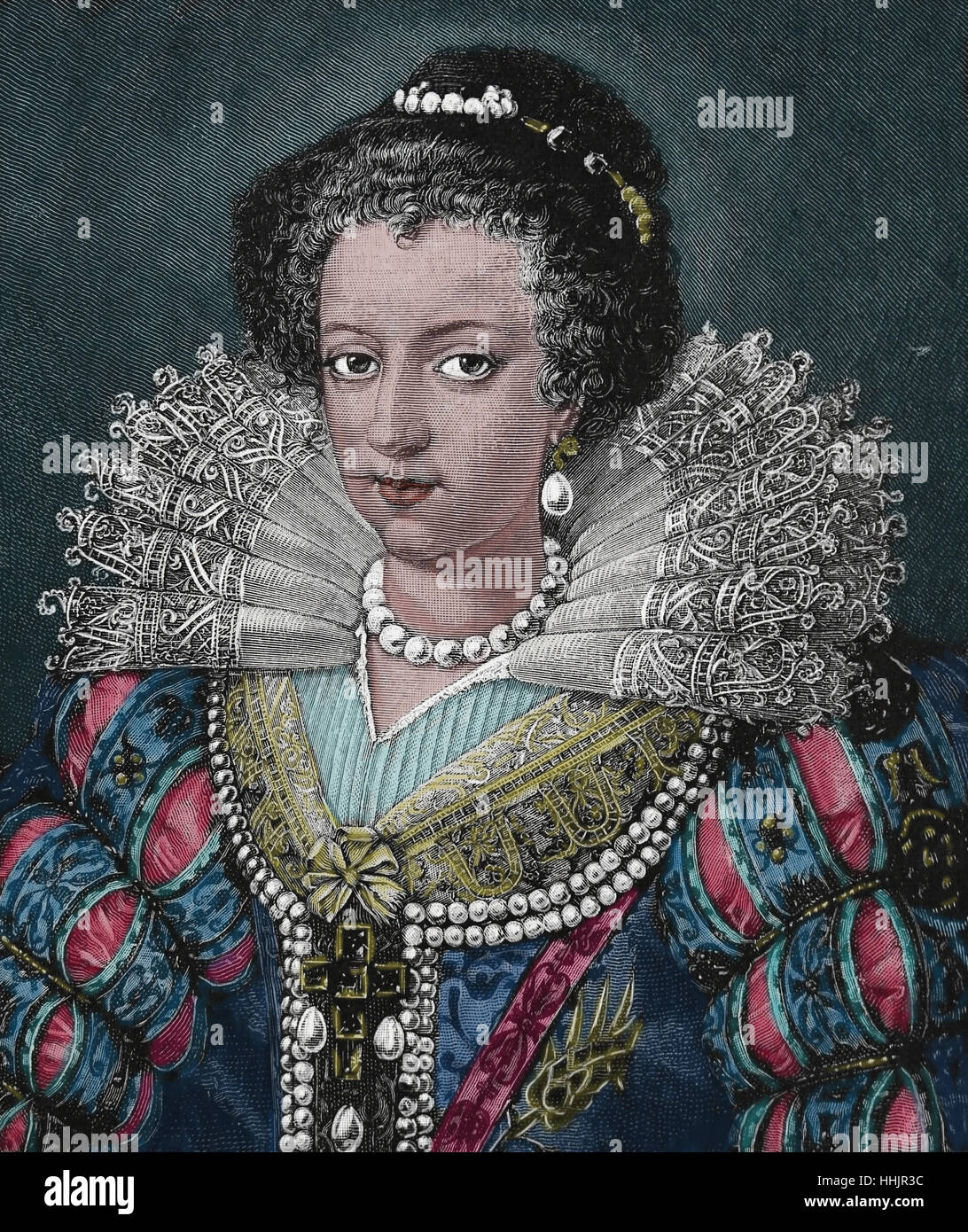 Elisabeth of Austria (1554-1592) Queen consort of France. Wife of King Charles IX. House of Habsburg. Engraving, - Stock Image