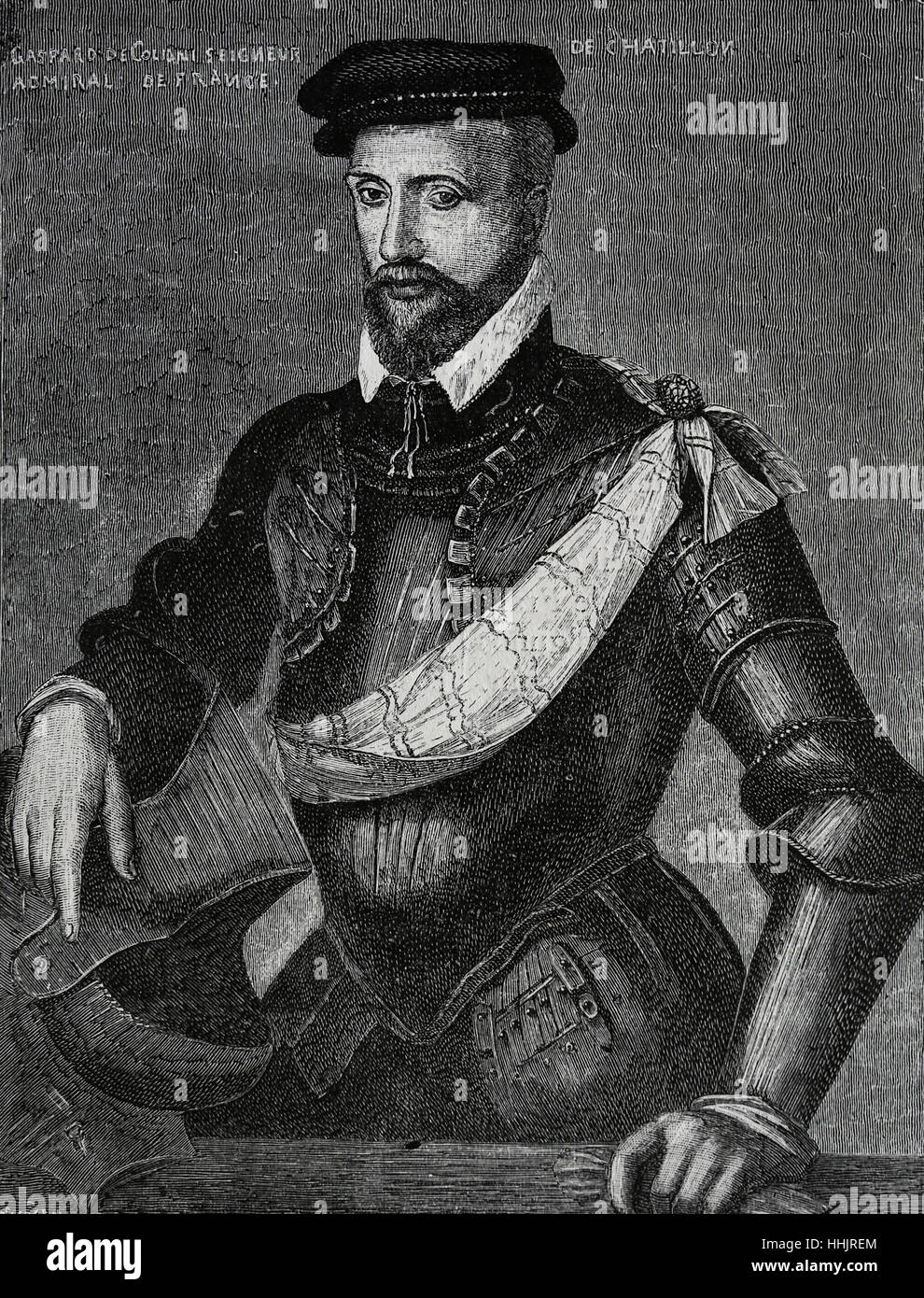 Gaspard II de Coligny (1519-1572). French nobleman and admiral, Huguenot leader in the French Wars of Religion. - Stock Image