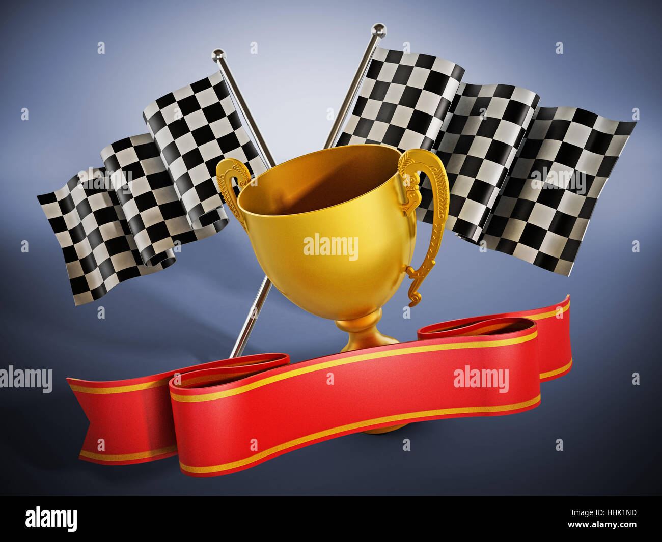 Gold cup, checkered flags and red ribbon. 3D illustration. - Stock Image