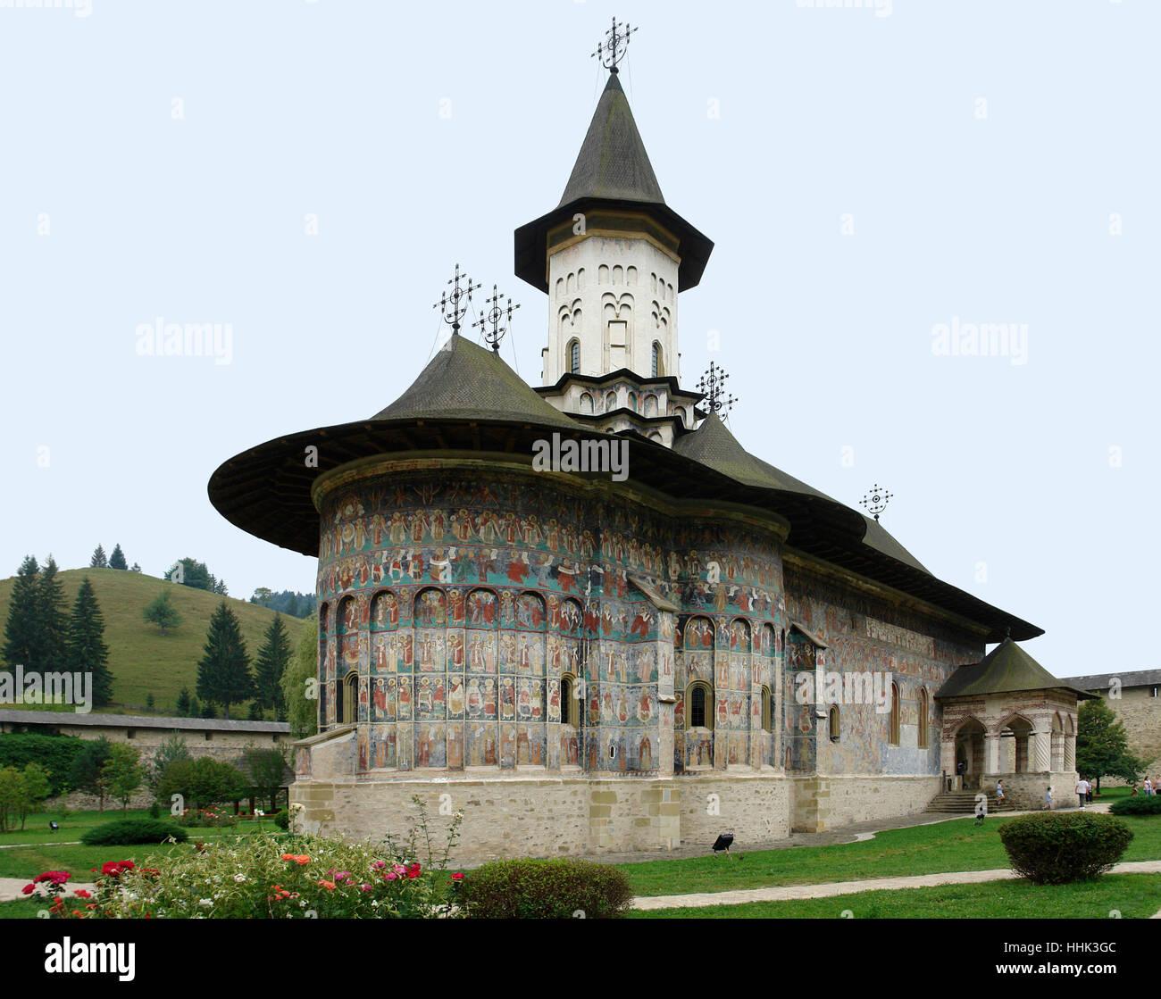church, monastery, ornate, convent, romania, church, park, wall, location shot, - Stock Image