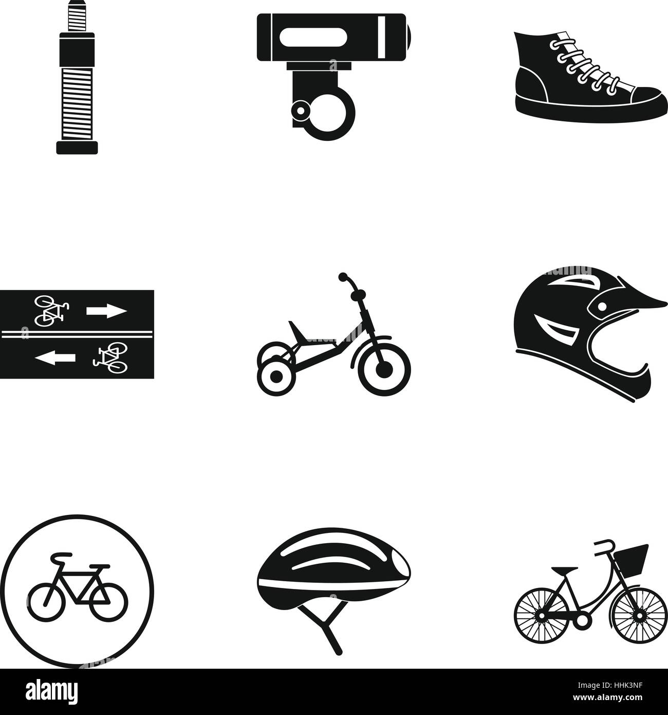 Bicycle Parts Icons Set Simple Style Stock Vector Art