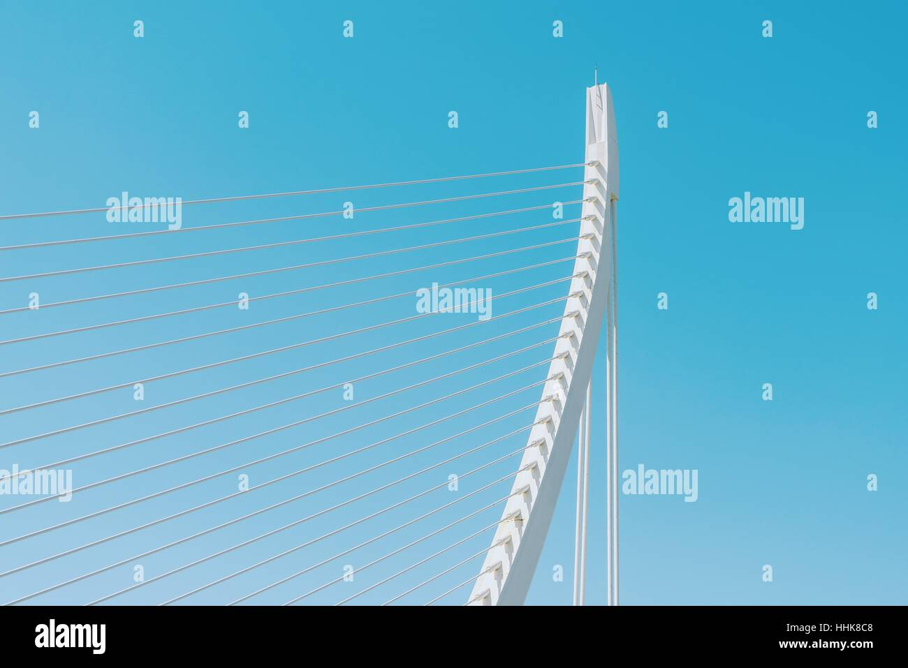 White Abstract Bridge Structure On Sky Stock Photo