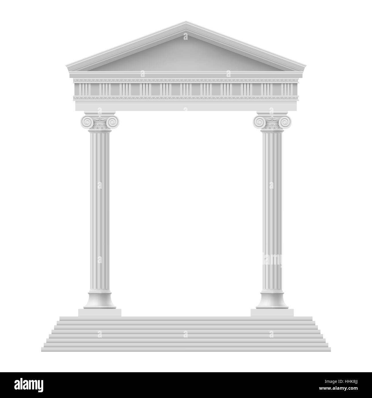 Simple Portico an ancient temple. Colonnade. Illustration on white - Stock Image