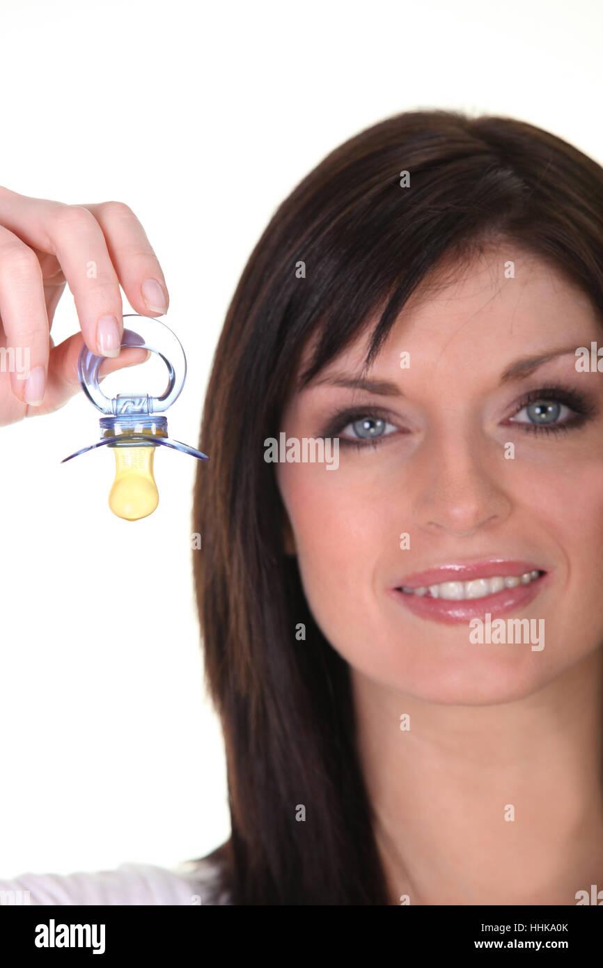 blue, eyes, baby, dummy, dangle, eyelashes, eyebrows, brows, woman, blue, - Stock Image