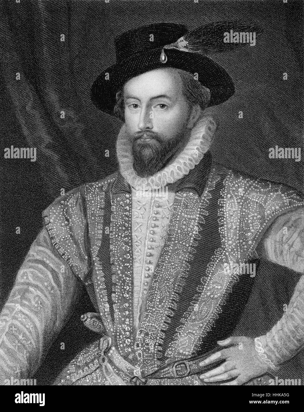 Sir Walter Raleigh, 1554 - 1618, an English aristocrat, writer, poet and explorer - Stock Image