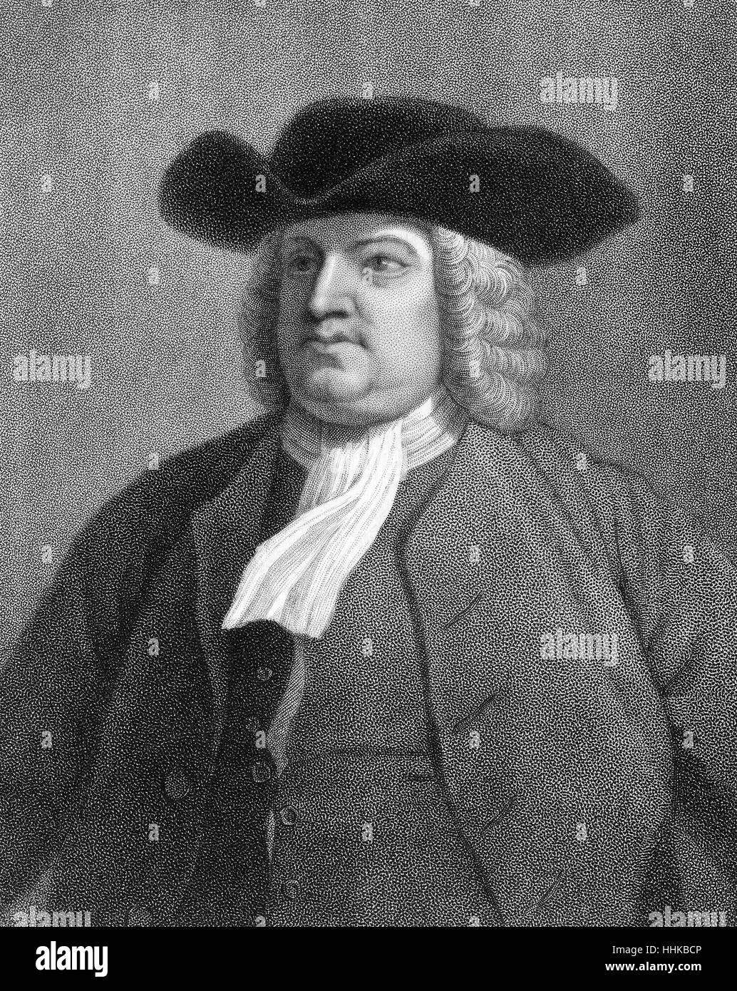 William Penn, 1644 - 1718, founder of the colony of Pennsylvania - Stock Image