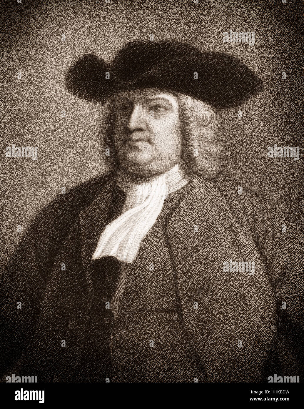 William Penn, 1644 - 1718, founder of the colony of Pennsylvania Stock Photo