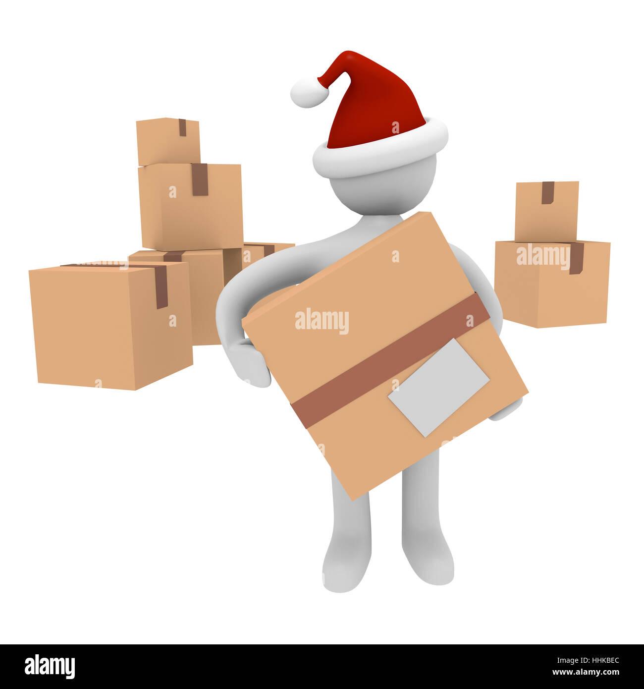 father christmas, nicholas, presents, cartons, christmas, xmas, x-mas, ok, Stock Photo