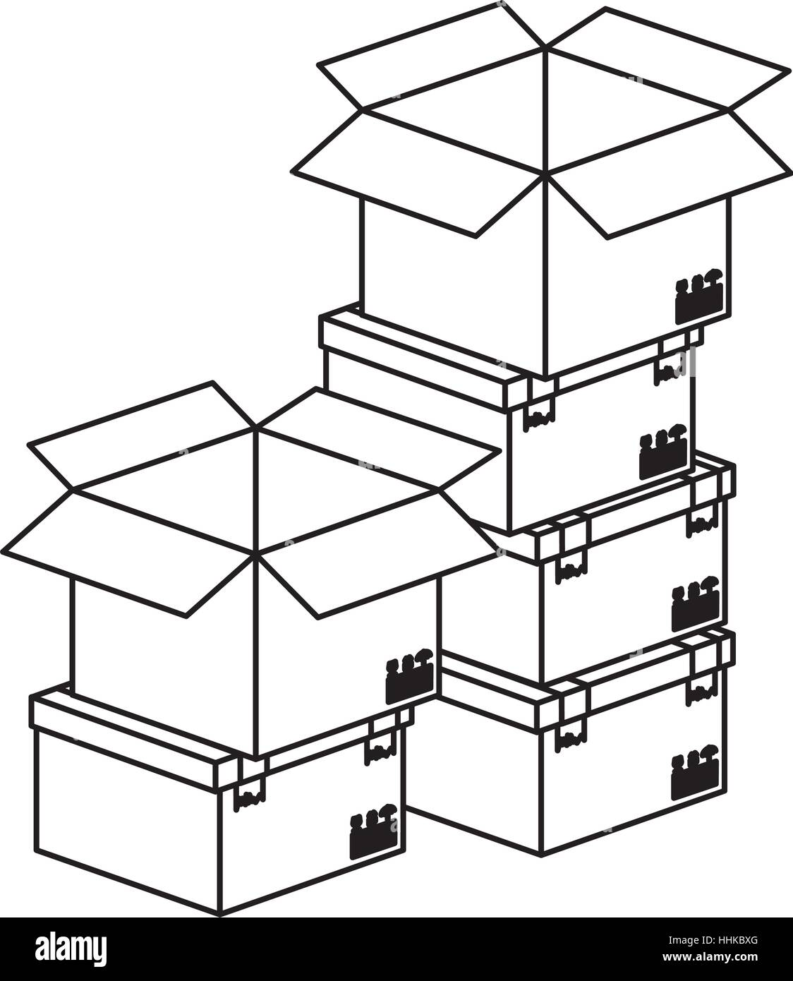 parcel tape stock vector images alamy  black silhouette contour boxes stacked and some opened vector illustration stock vector