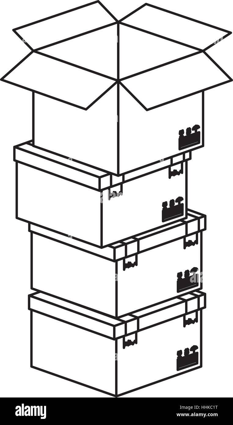 black silhouette contour boxes stacked and one opened vector illustration - Stock Vector