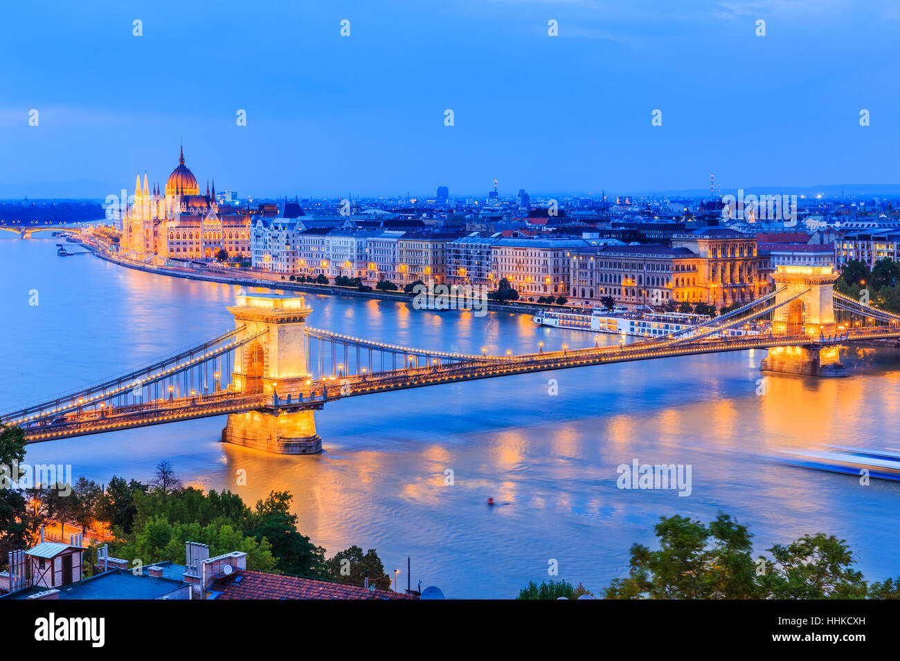 Budapest, Hungary. The chain bridge over river Danube and famous building of Parliament. - Stock Image