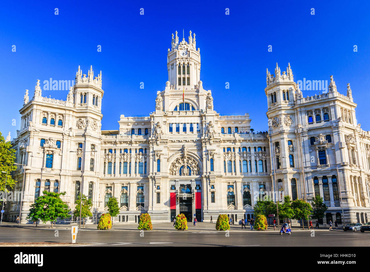 Madrid, Spain. Communications Palace (City Hall) from Plaza de Cibeles. - Stock Image