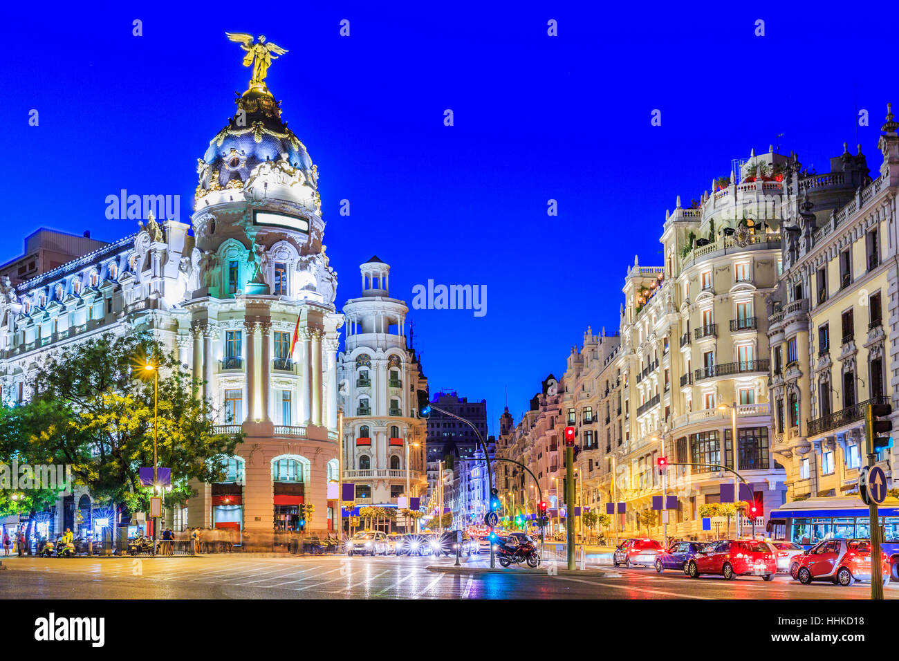 Madrid, Spain. Gran Via, main shopping street at twilight. - Stock Image