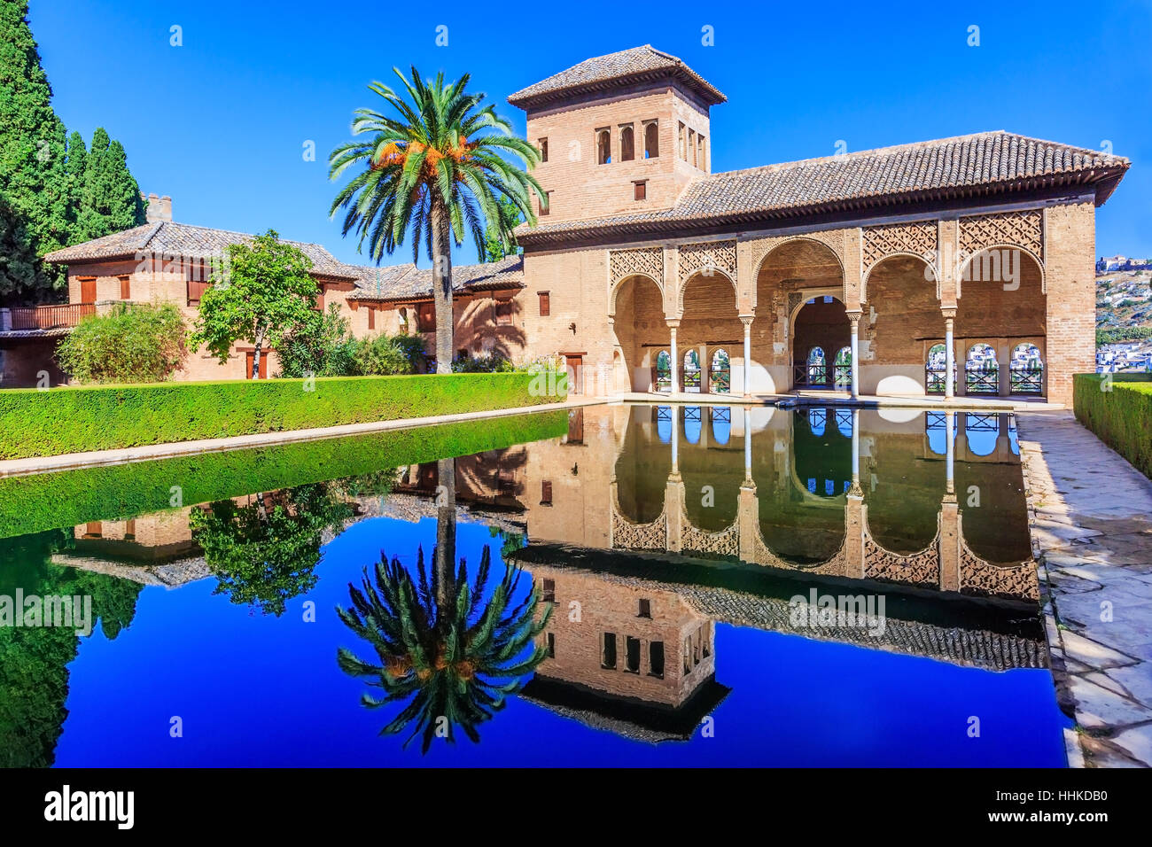 Alhambra, Granada, Spain. The Nasrid Palaces (Palacios Nazaríes) in the Alhambra fortress. - Stock Image