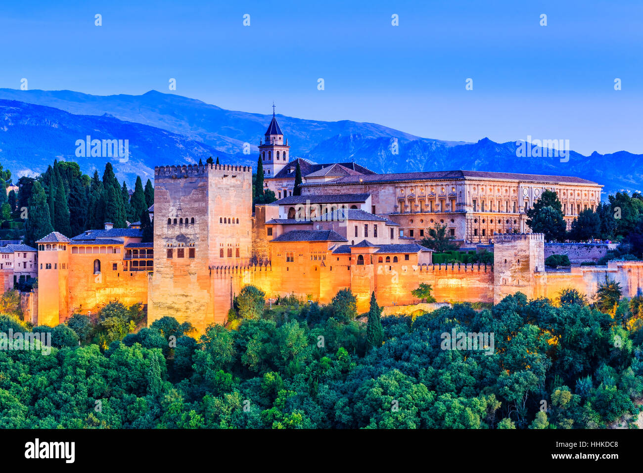 Alhambra of Granada, Spain. - Stock Image
