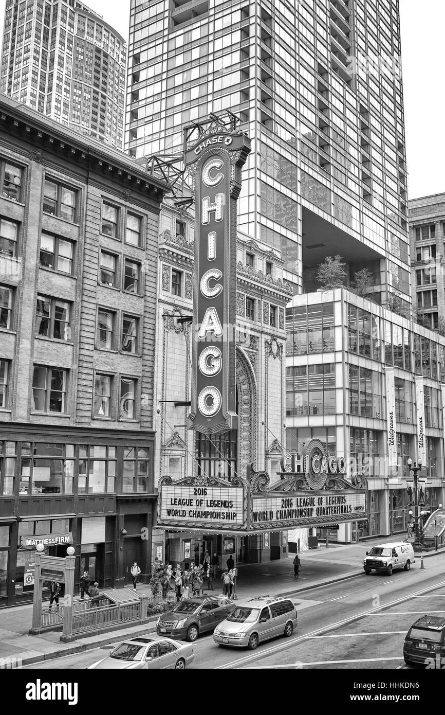 Chicago, USA - October 15, 2016: Exterior of The Chicago Theater. The building was added to the National Register - Stock Image