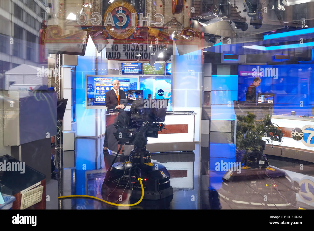 Chicago, USA - October 15, 2016: ABC 7 live show in studio seen through window, the station is the most watched - Stock Image