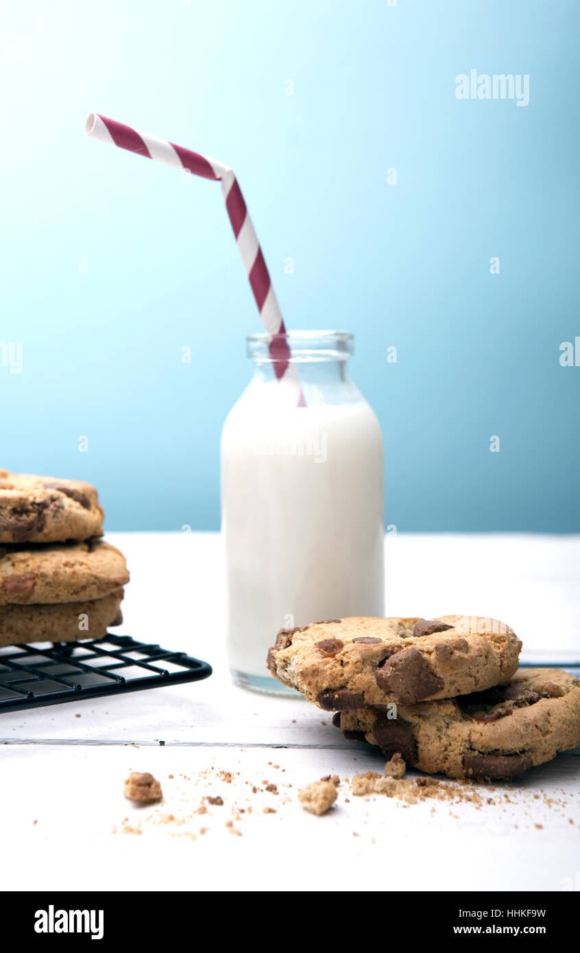 Fresh Homemade Cookies and Milk - Stock Image