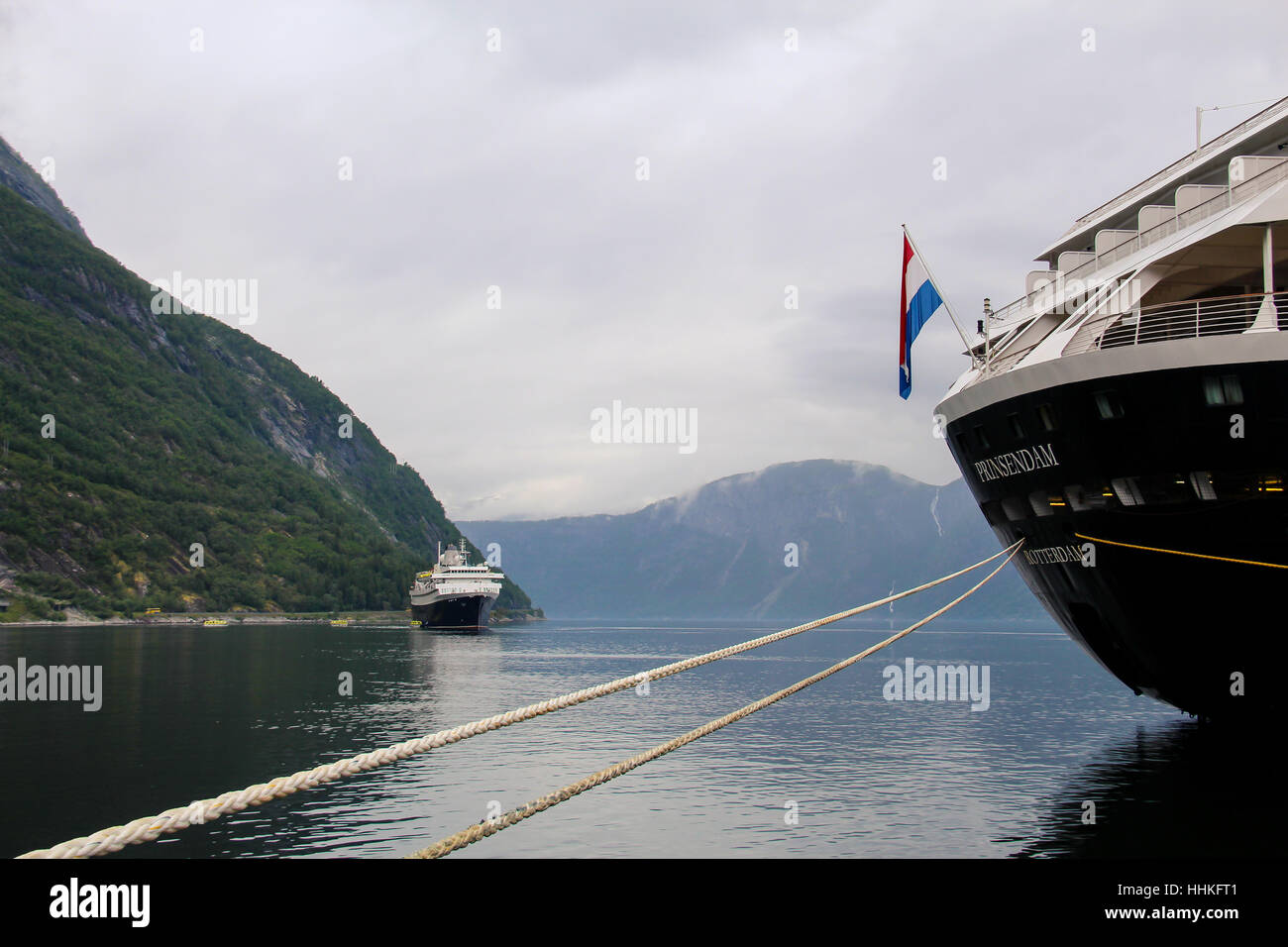 The stern of Holland America's cruise ship 'Prinsendam' while moored in Eidfjord, Norway. - Stock Image