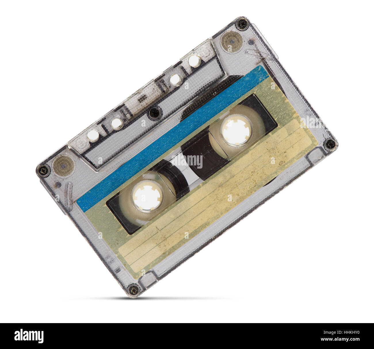 close up of a vintage audio tape on white background - Stock Image