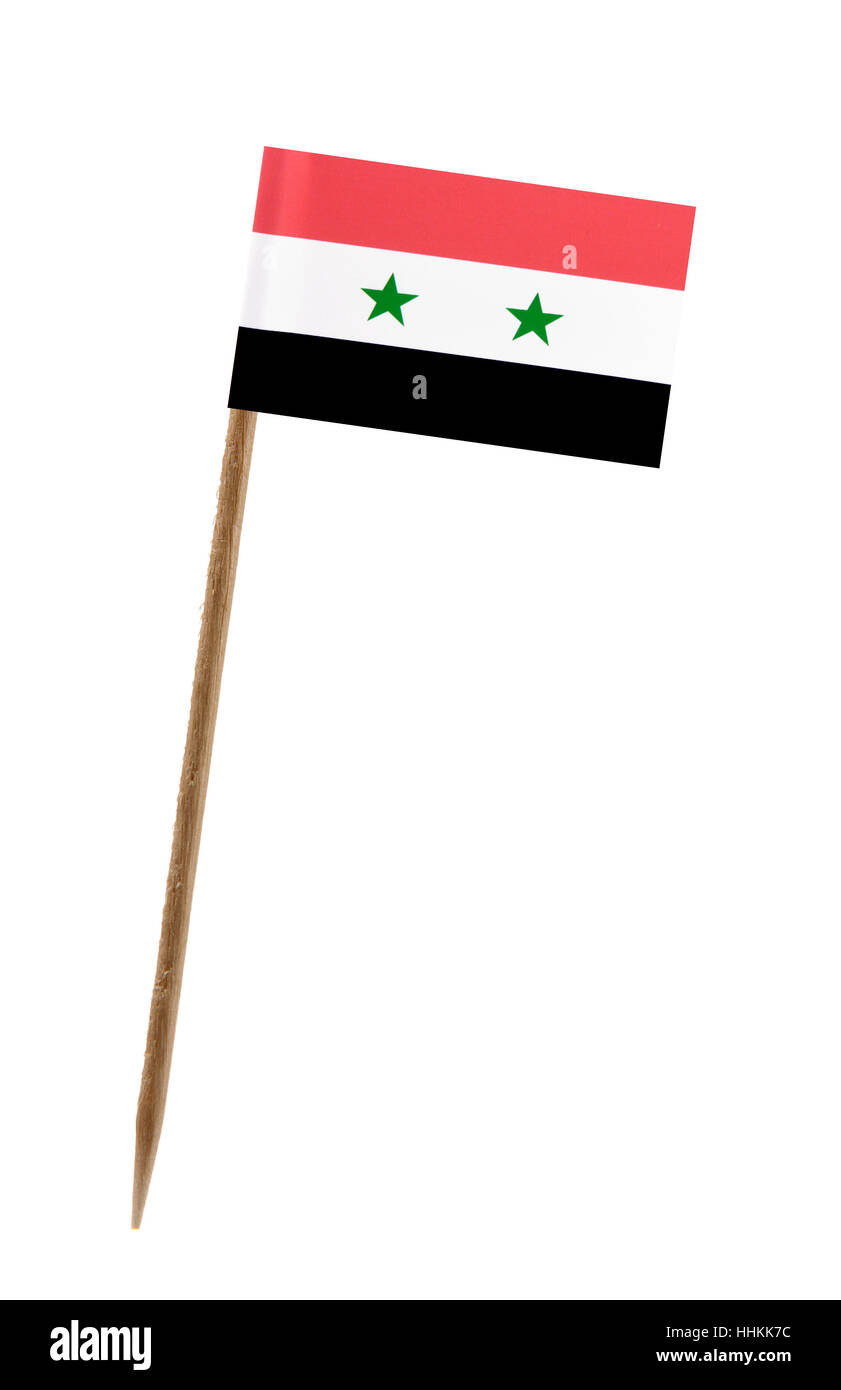 Tooth pick wit a small paper flag of Syria Stock Photo