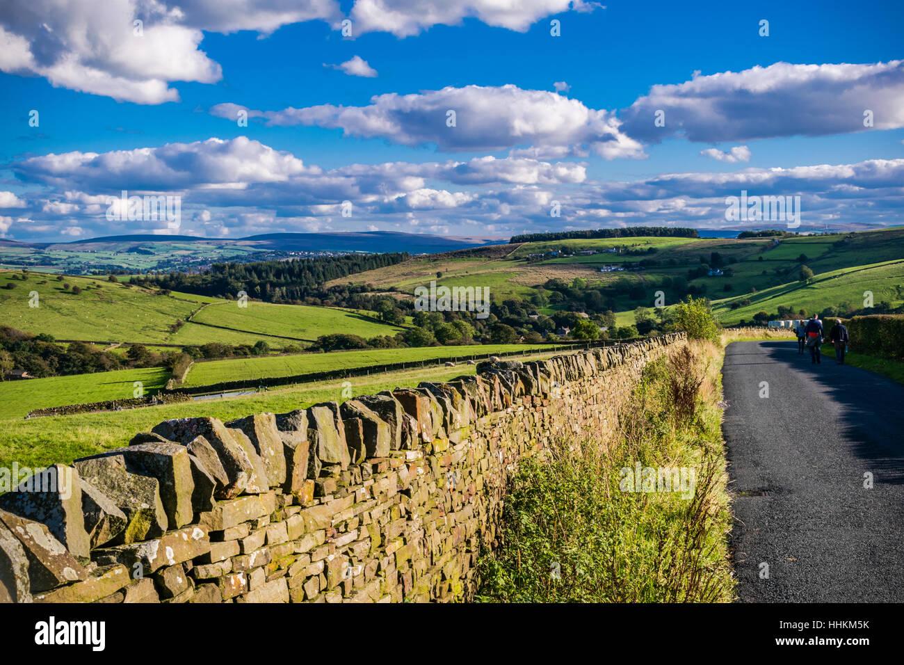 English countryside road on summer, Lancashire, Forest Of Bowland, England UK - Stock Image