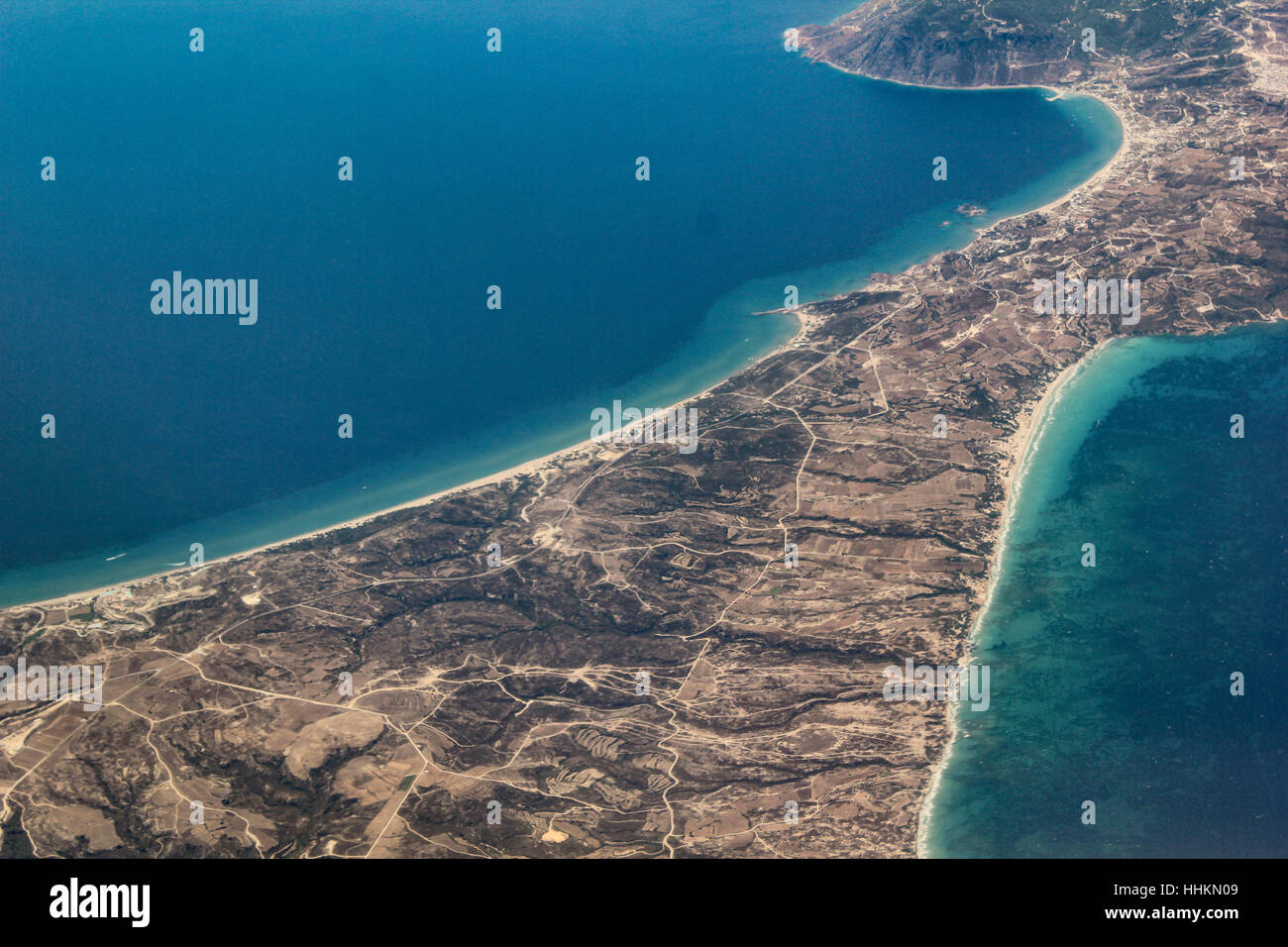 Aerial shot of land from plane - Stock Image