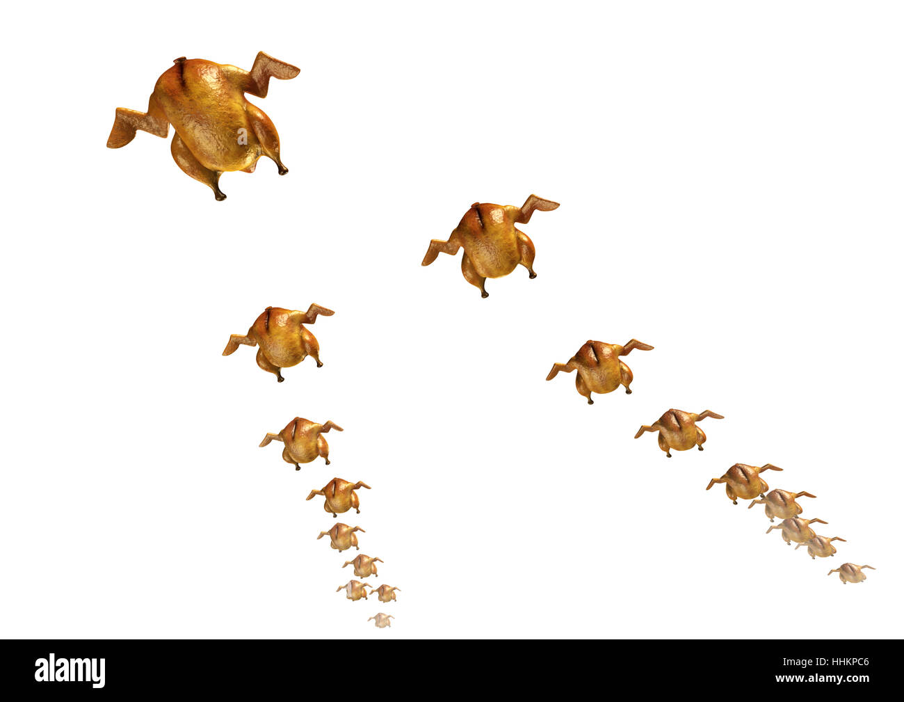 Migration Of Roasted Chickens - Stock Image