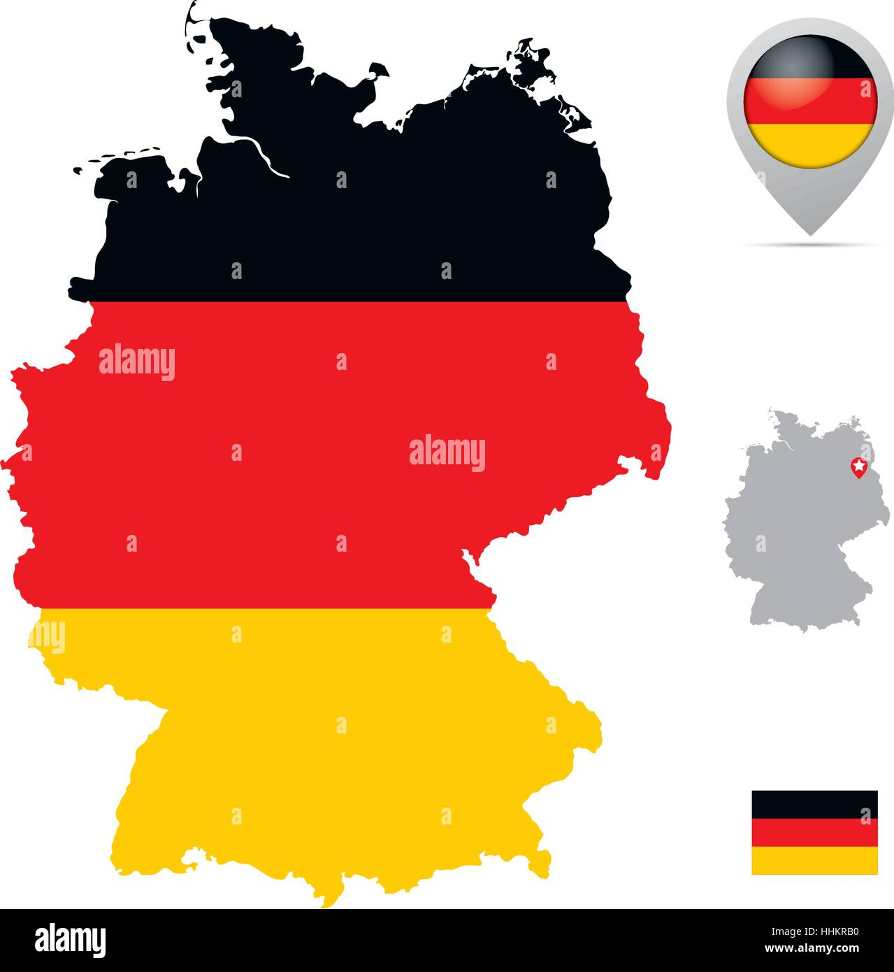 Capital Of Germany Map.Germany Map In National Flag Colors Flag Marker And Location Of