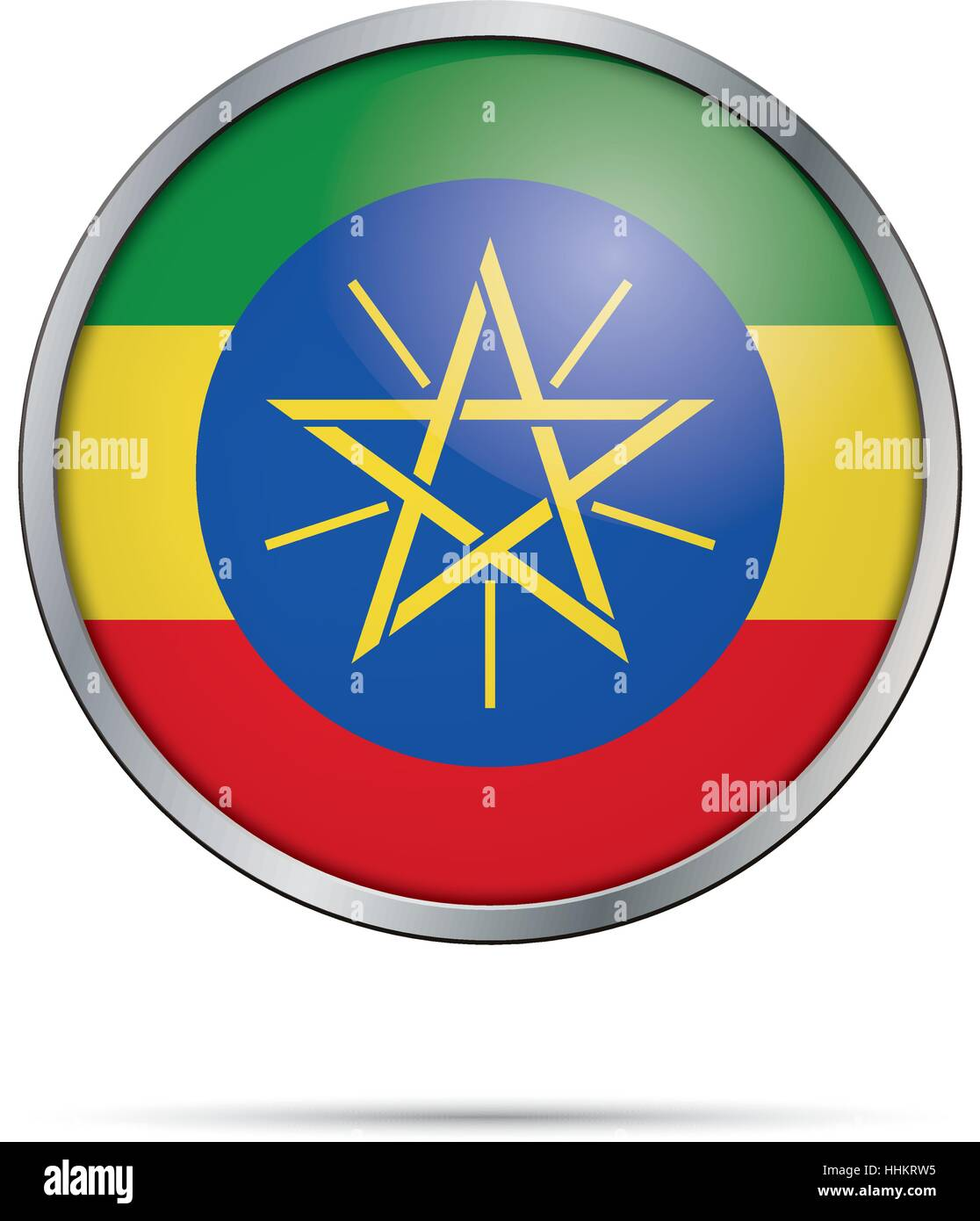 Vector Ethiopian flag button. Ethiopia flag in glass button style with metal frame - Stock Vector