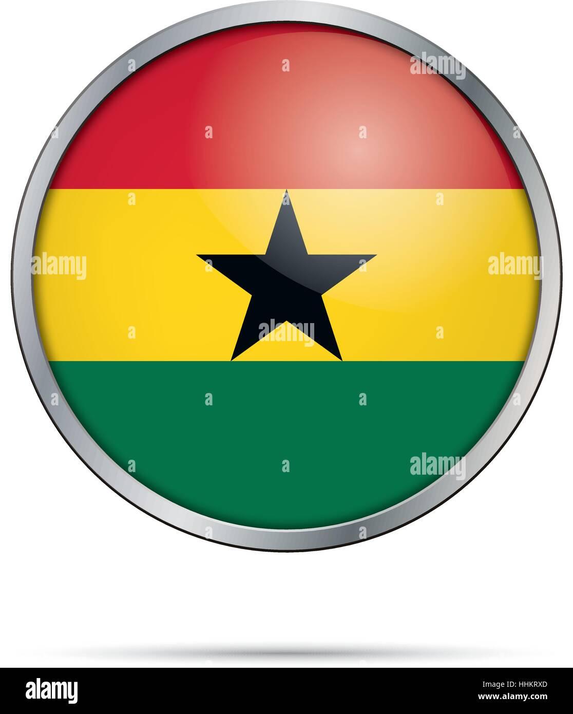 Vector Ghanaian flag button. Ghana flag in glass button style with metal frame - Stock Vector