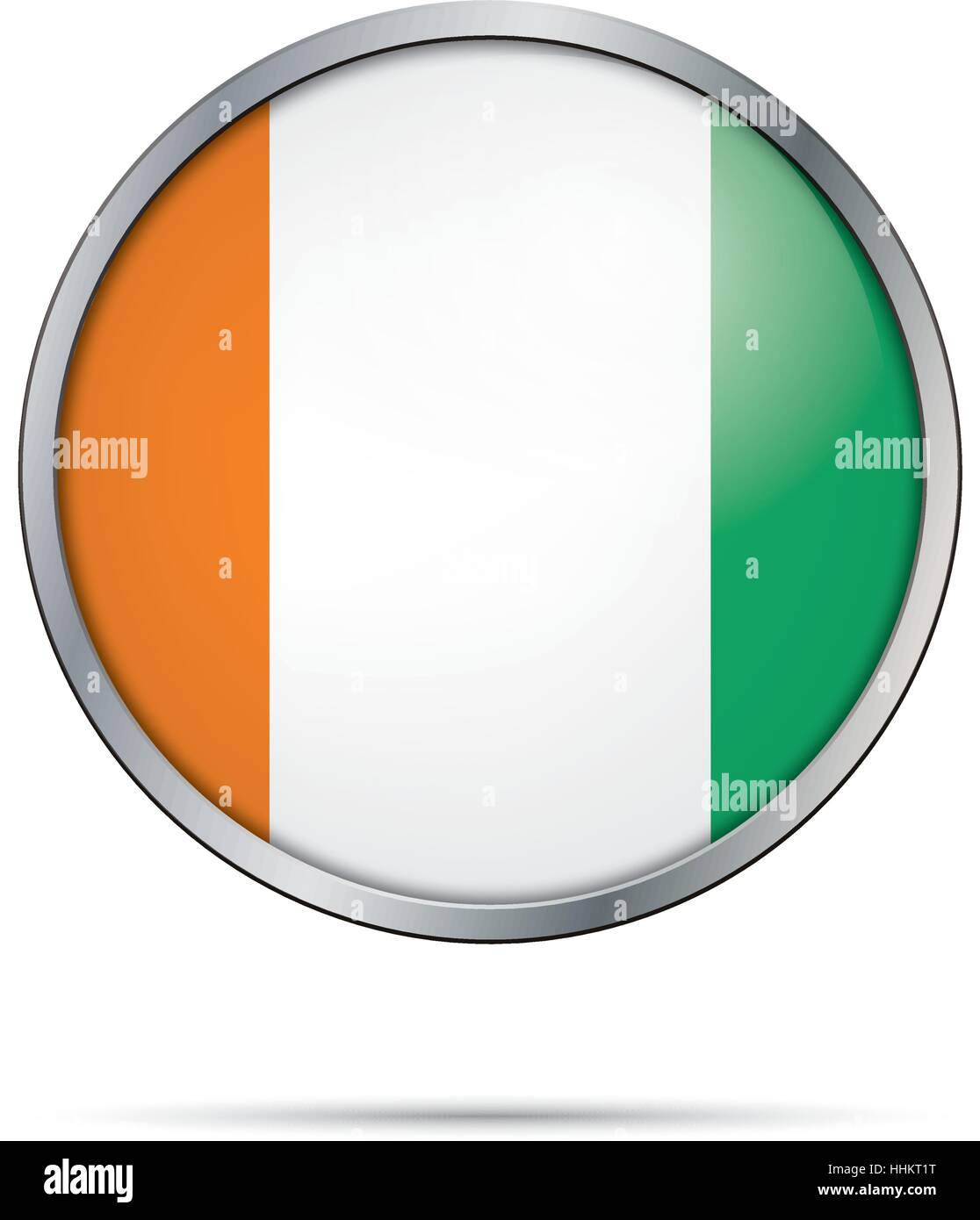 Vector Côte d'Ivoire flag in glass button style with metal frame - Stock Image