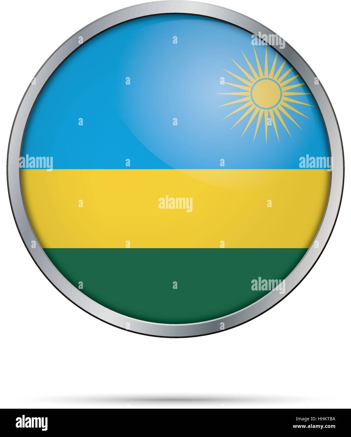 Vector Rwandan flag button. Rwanda flag in glass button style with metal frame - Stock Vector