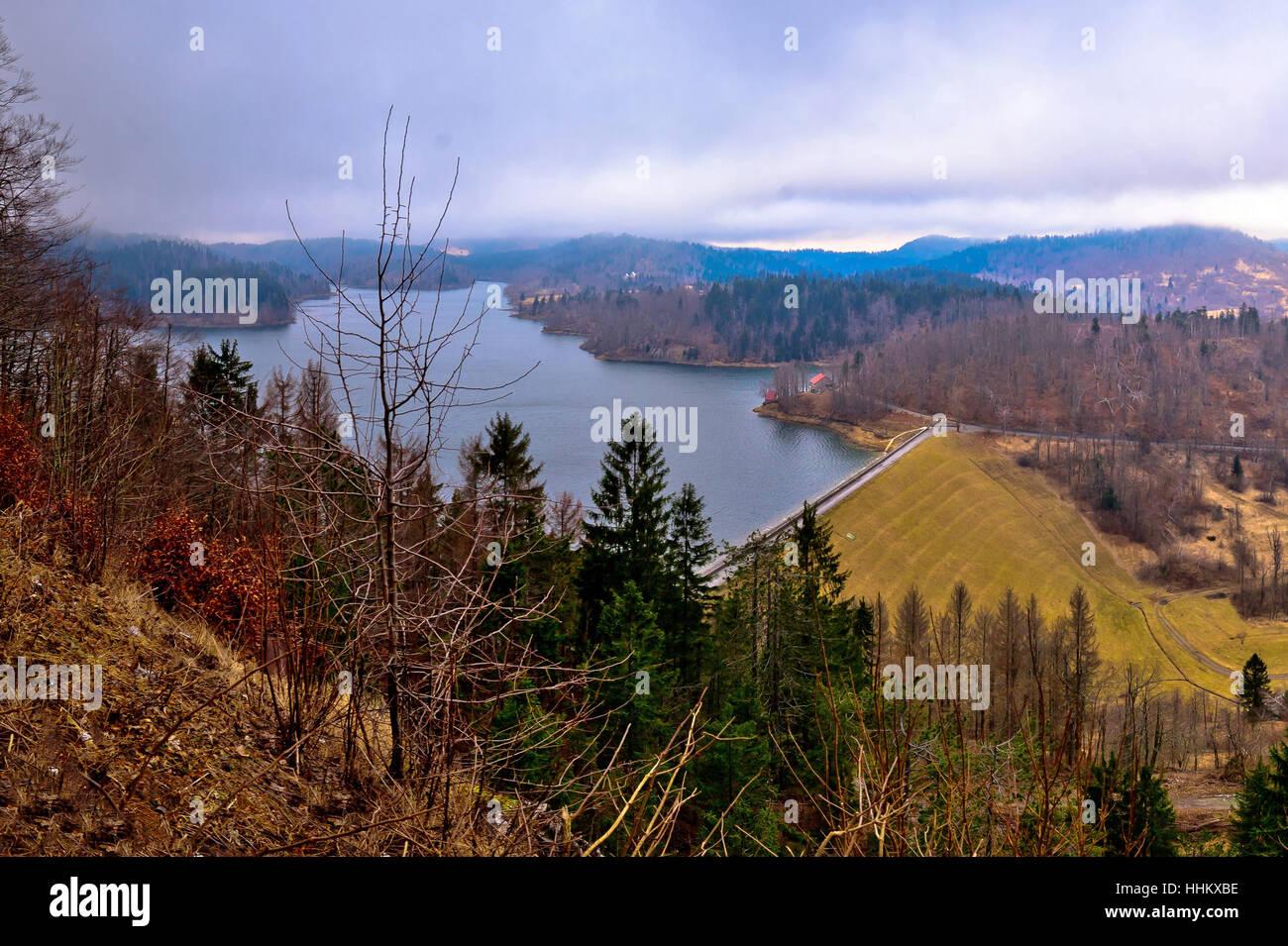 Lokvarsko lake in Gorski kotar winter view, mountain region of Croatia Stock Photo