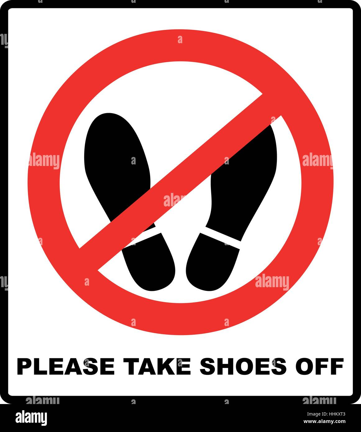 9809982dce19b1 Please take shoes off. Do not step here please sign vector illustration.  Red prohibition