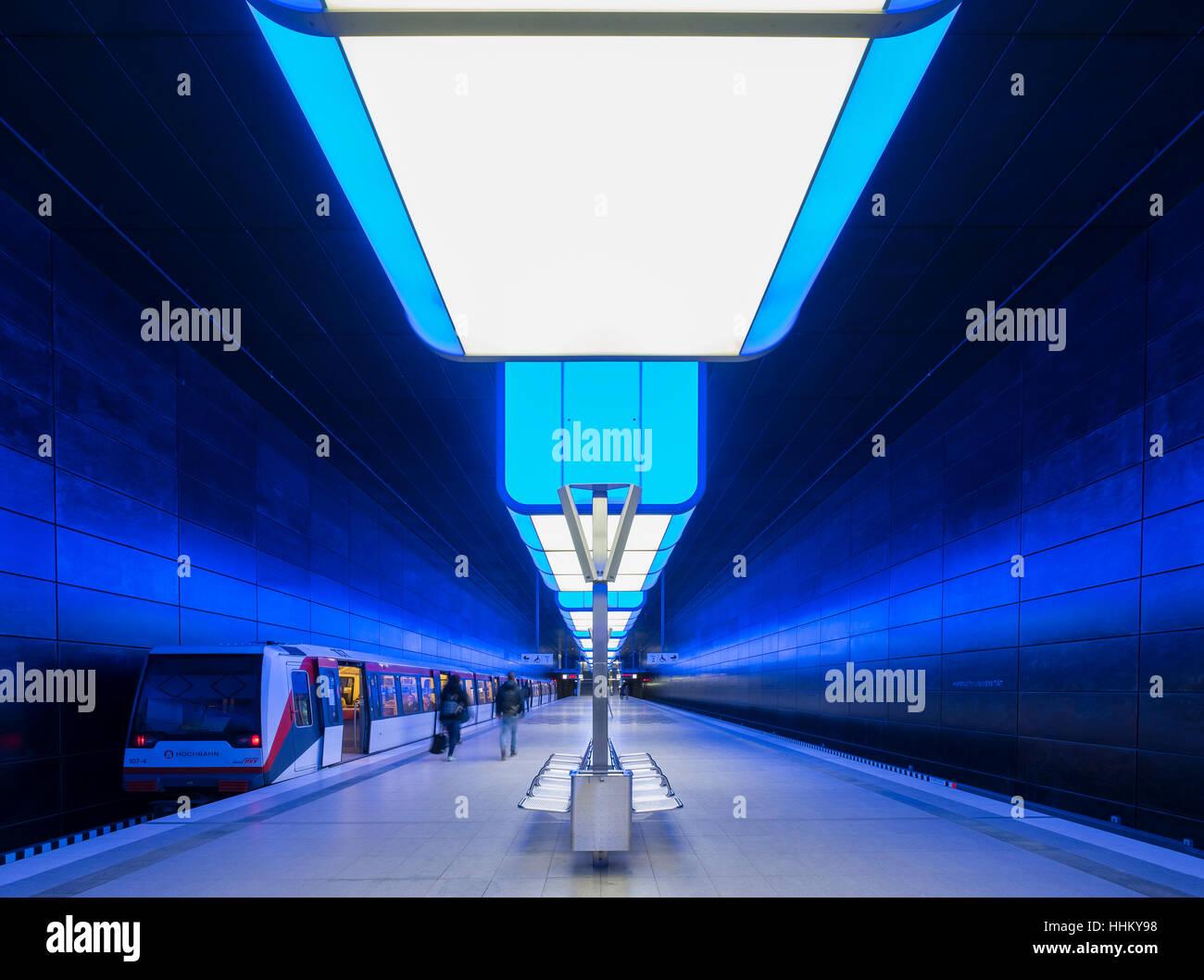Interior of Hafencity University underground station in Hamburg, Germany - Stock Image