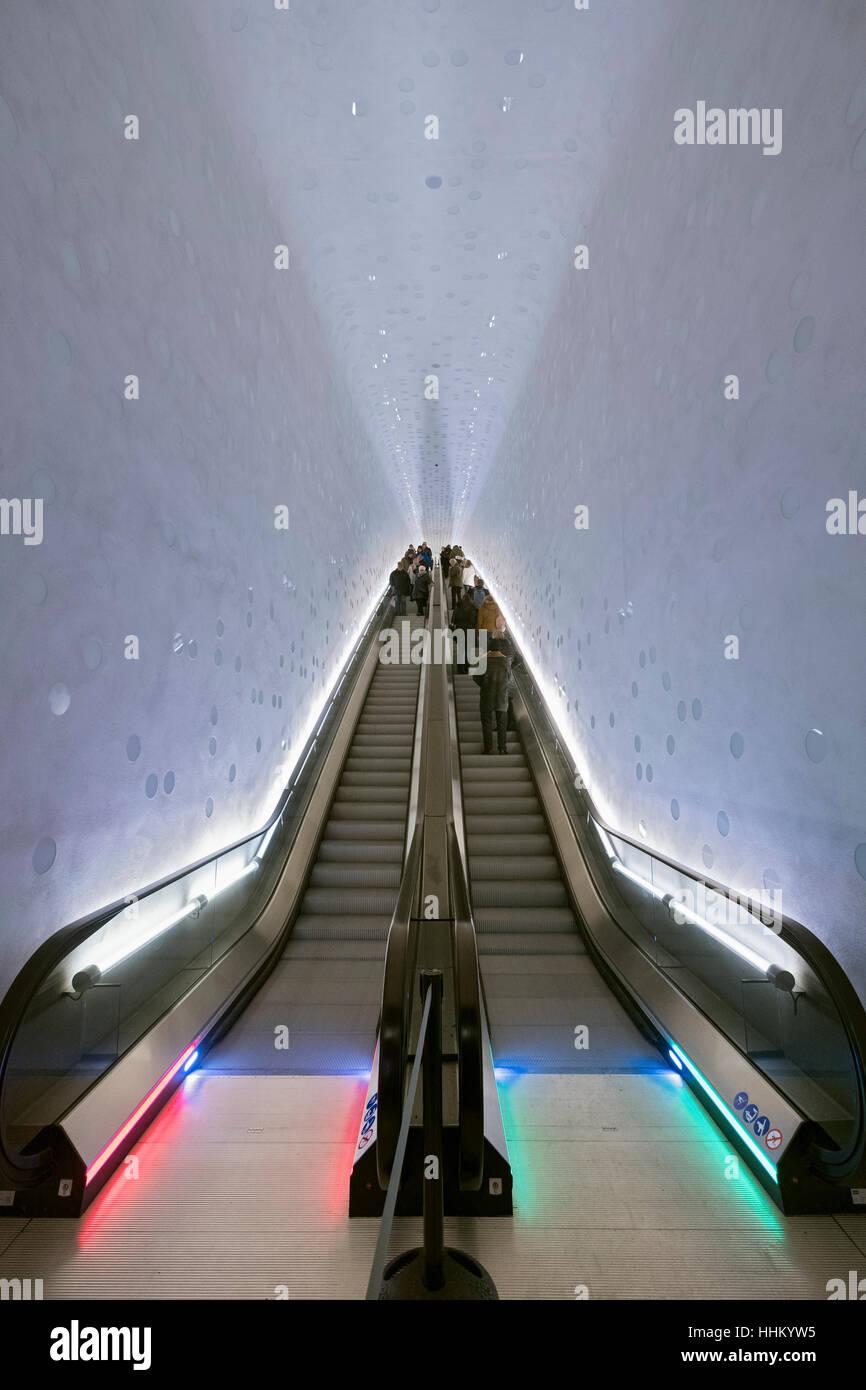 Elbe Philharmonie, Hamburg, Germany; Curved escalator inside new opera house in Hamburg, Germany. - Stock Image