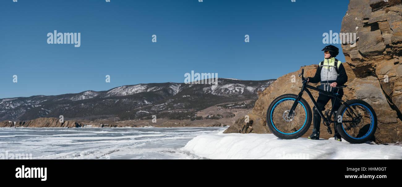 Fatbike (fat bike or fat-tire bike Stock Photo: 131361240