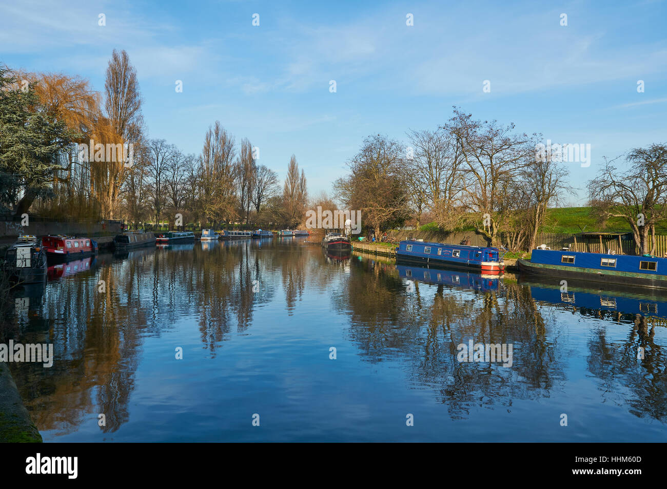 The River Lee in January, near South Tottenham, North  London UK. - Stock Image