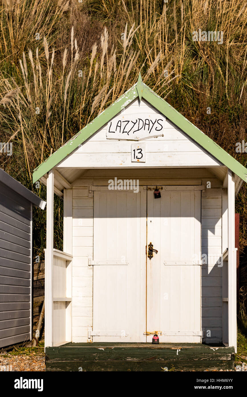 Beach hut called Lazy Days, Number 13, Bexhill on Sea, East Sussex, UK - Stock Image
