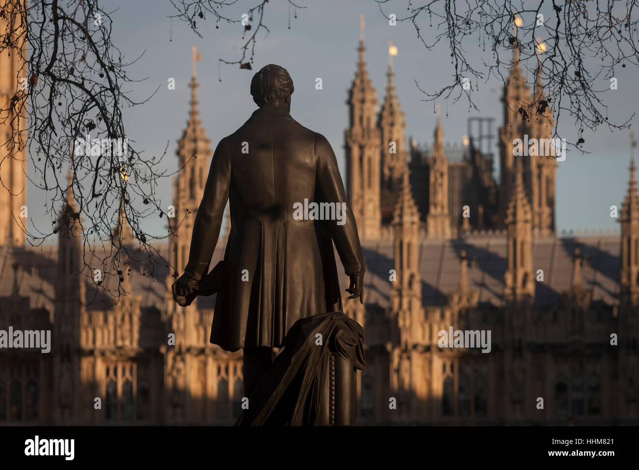 The statue of Sir Robert Peel and the British Houses of Parliament, on 17th January 2017, in Parliament Square, - Stock Image