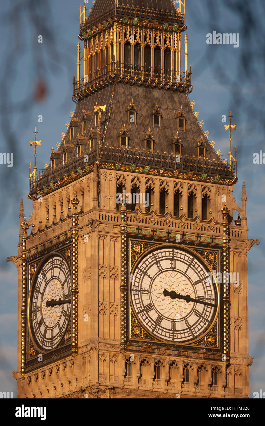 The Elizabeth Tower of the British Houses of Parliament, the seat of the UK's government, on 17th January 2017, - Stock Image