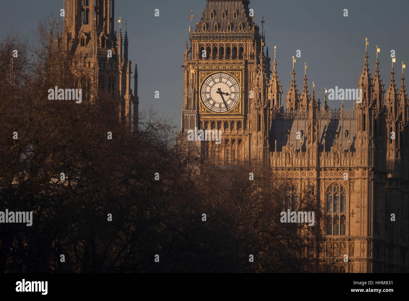 The British Houses of Parliament, seat of the UK's government, on 17th January 2017, in London England. The - Stock Image