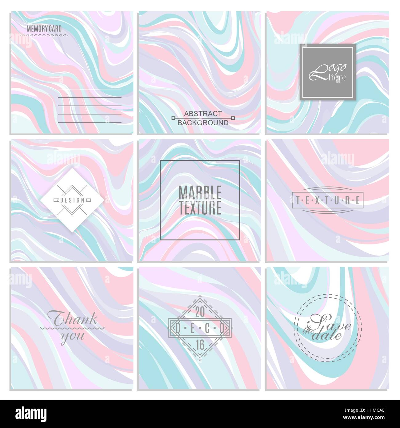 Abstract Creative Card Templates Weddings Menu Invitations Birthday Business Cards With Marble Texture In Trendy Colors