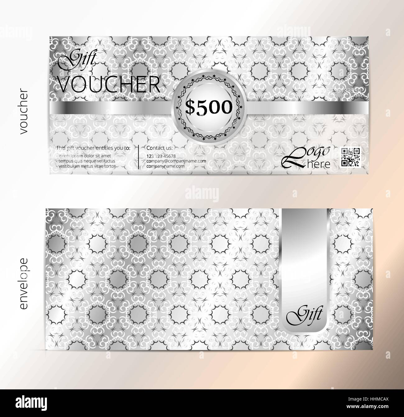 voucher and envelope set gift certificate luxury coupon template