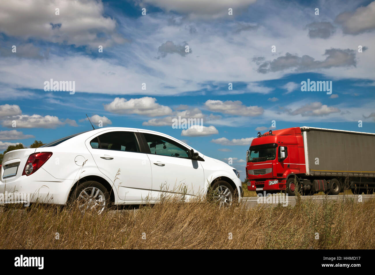 car and truck on  the opposite direction Stock Photo