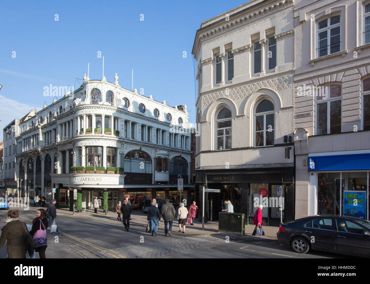 London Street and Gentlemans Walk, Norwich town centre - Stock Image
