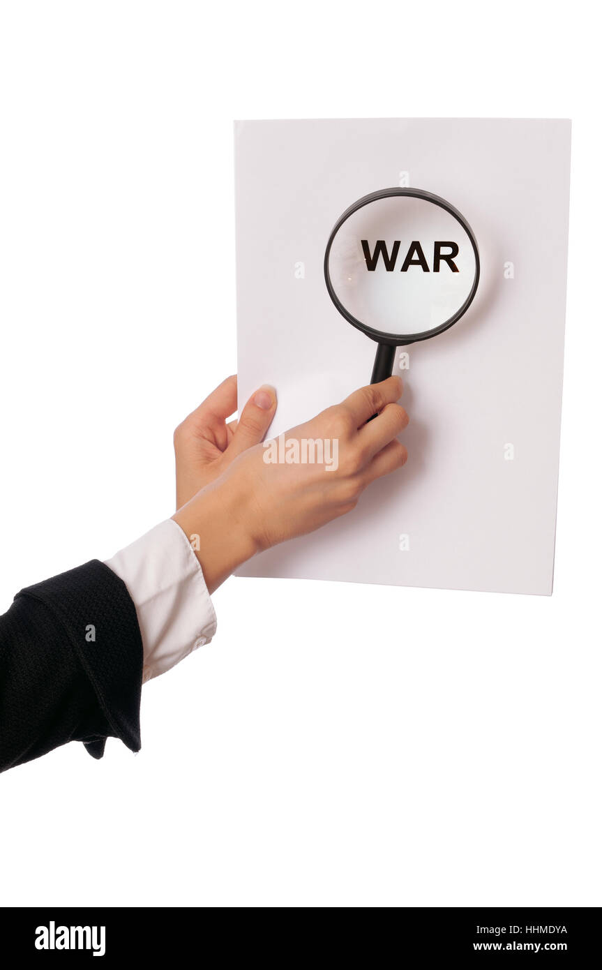 danger, risk, war, threat, probability, pact, conditions, woman, newspaper, - Stock Image