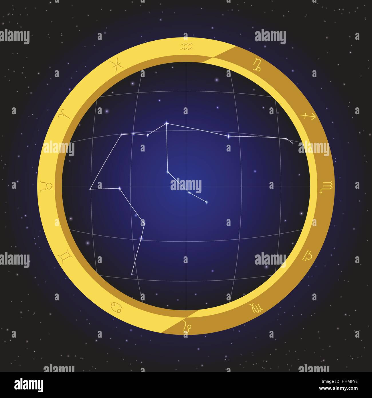 aquarius star horoscope zodiac in fish eye telescope golden ring frame with cosmos background - Stock Image