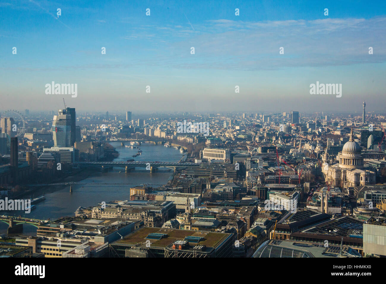 Aerial view of London from East toward West. - Stock Image